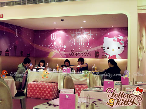 Long Couch at the End with a Huge Kitty Background (Hello Kitty Sweets Café)