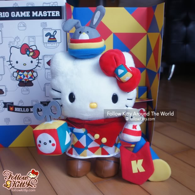 Ring Toss Bunny sitting on Hello Kitty's head by magnet suction